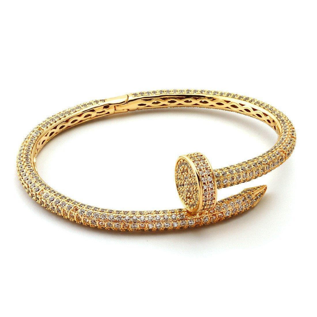 fdfe08d1486 Home   Shop   Bracelets   18K Diamond Fully-iced out Nail Bracelet